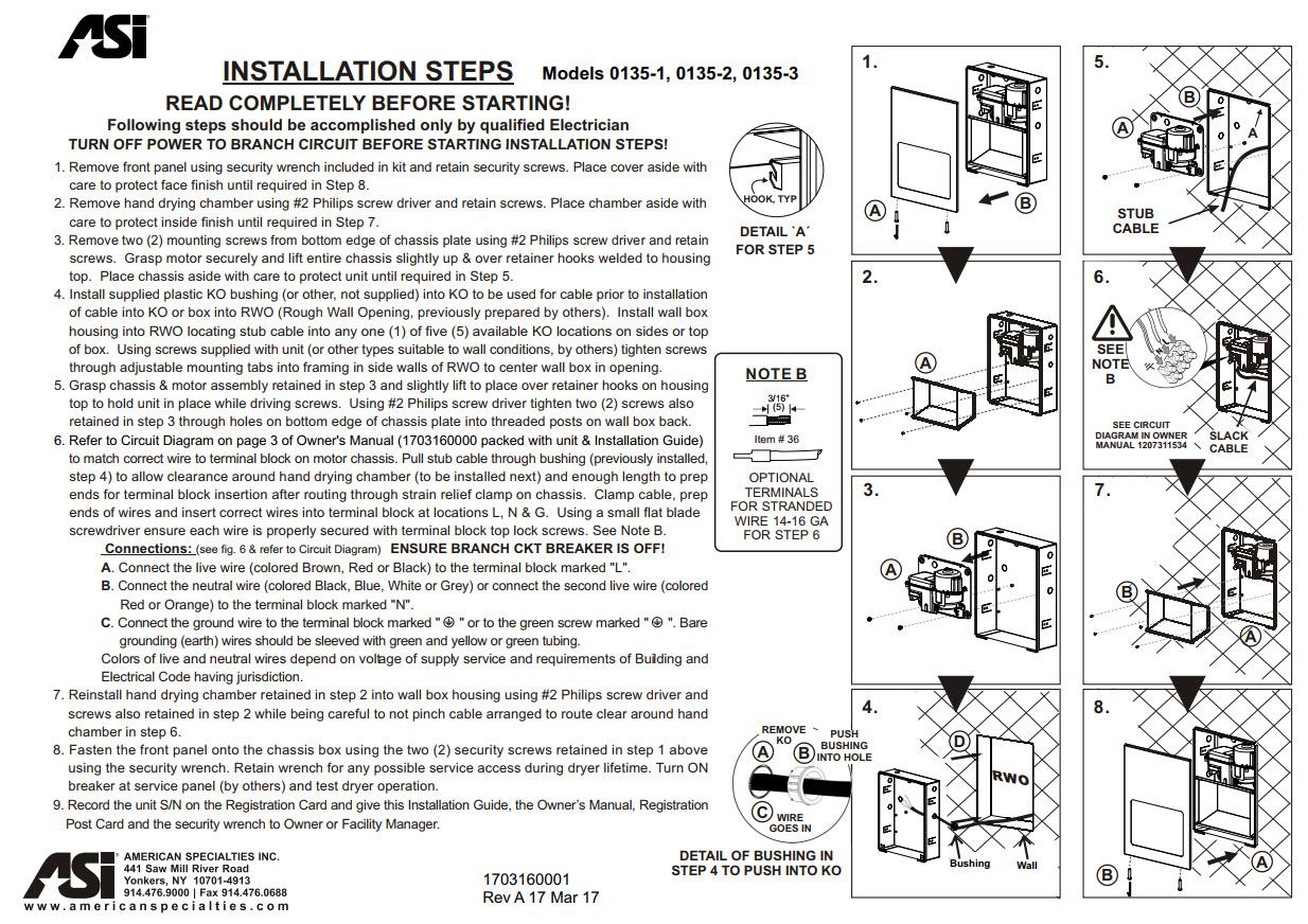 Asi 0135 Hand Dryer Division 10 Direct Xlerator Wiring Diagram Turbo Tuff Recessed Ada Compliant Satin Finish